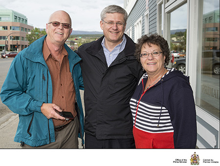 prime minister harper with phil and therese ackland in whitehorese
