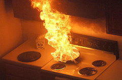 fire in residential kitchen