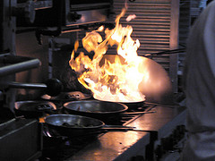 commercial kitchen fire in pan